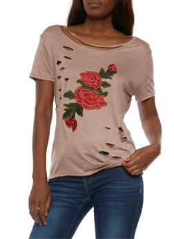 Floral Applique Lasercut T Shirt - 3033067330814