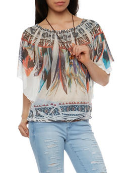 Feather Print Mesh Top with Necklace - 3033067333046