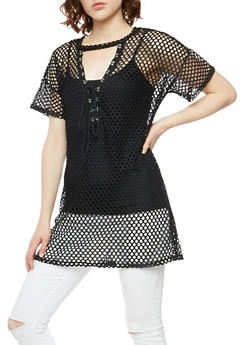 Fishnet Lace Up Top - 3033067333411