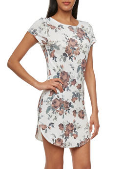 T-Shirt Dress with Rounded Hem and Vibrant Print - WHITE - 3033067334105