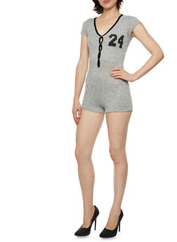 Knit Romper with 84 Graphic - 3033067338022
