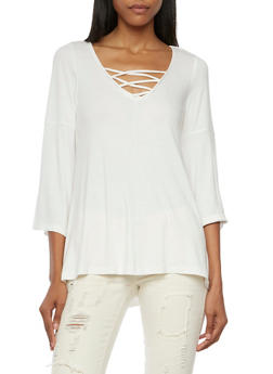 Lace Up Top with Bell Sleeves - CREAM - 3034015996080
