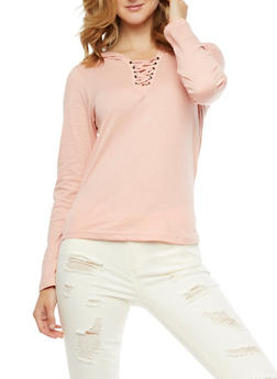 Long Sleeve Lace Up Hooded Top - 3034033873264