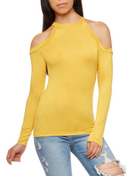 Solid Long Sleeve Cold Shoulder Top - 3034038340119