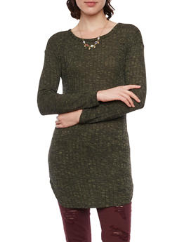 Marled Rib Knit Tunic Top with Necklace - 3034038341382
