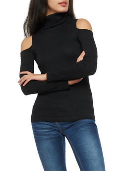 Long Sleeve Cold Shoulder Rib Knit Turtle Neck Top - 3034038342001