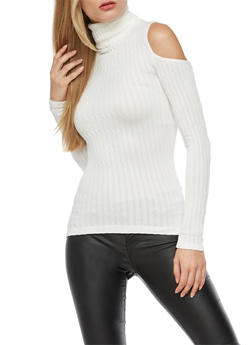 Long Sleeve Cold Shoulder Rib Knit Turtle Neck Top - IVORY - 3034038342001