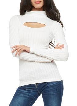 Long Sleeve Ribbed Knit Keyhole Top - IVORY - 3034038342002