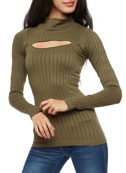 Long Sleeve Ribbed Knit Keyhole Top - 3034038342002