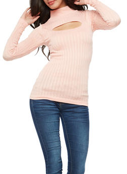 Long Sleeve Ribbed Knit Keyhole Top - SALT CRYSTAL - 3034038342002