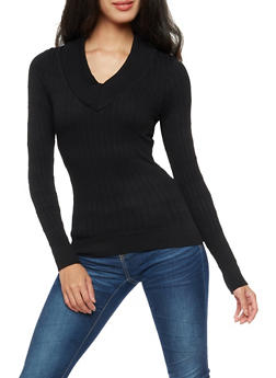 Long Sleeve V Neck Ribbed Knit Sweater - 3034038342005