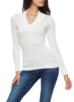 Long Sleeve V Neck Ribbed Knit Sweater - IVORY - 3034038342005