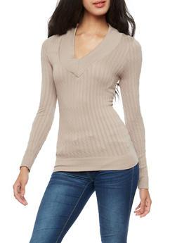 Long Sleeve V Neck Ribbed Knit Sweater - 3034038342005