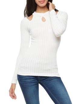 Long Sleeve Cold Shoulder Ribbed Knit Top - IVORY - 3034038342007
