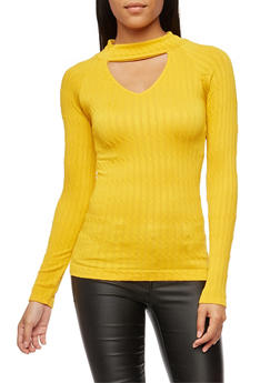 Cable Knit Long Sleeve Keyhole Top - 3034038342008