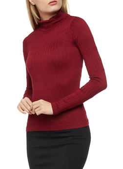 Long Sleeve Cable Knit Sweater - WINE - 3034038342010