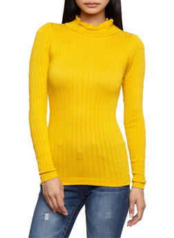 Long Sleeve Cable Knit Sweater - 3034038342010