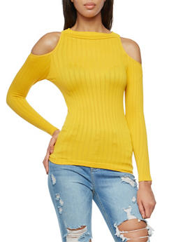 Long Sleeve Cold Shoulder Top - 3034038342023