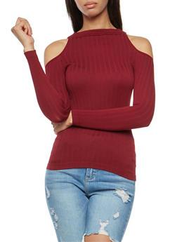 Long Sleeve Cold Shoulder Top - 3034038342023