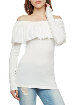Seamless Off the Shoulder Top with Ruffle Detail - IVORY - 3034038342042