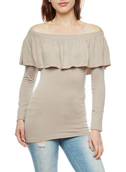 Seamless Off the Shoulder Top with Ruffle Detail - 3034038342042