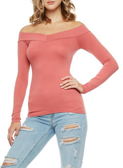 Seamless V Neck Off the Shoulder Top - 3034038342043