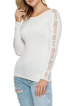 Seamless Stretch Top with Lace Sleeve Detail - IVORY - 3034038342044