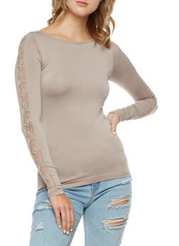 Seamless Stretch Top with Lace Sleeve Detail - 3034038342044