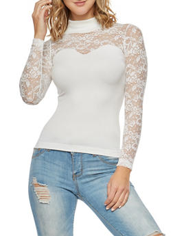 Lace Turtleneck Sweetheart Long Sleeve Top - IVORY - 3034038342045