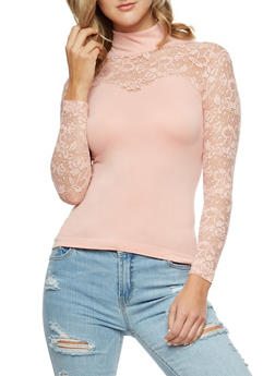 Lace Turtleneck Sweetheart Long Sleeve Top - 3034038342045