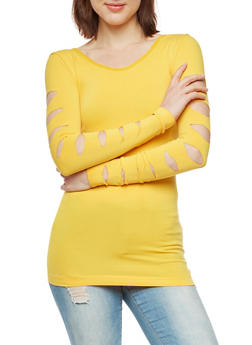 Seamless Laser Cut Long Sleeve Top - 3034038342046