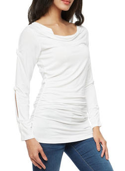 Knotted Slit Long Sleeve Ruched Tunic Top - IVORY - 3034038342118