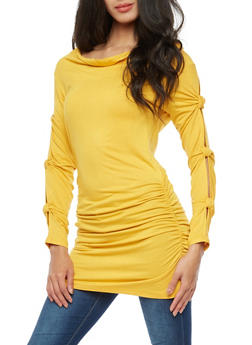 Knotted Slit Long Sleeve Ruched Tunic Top - 3034038342118