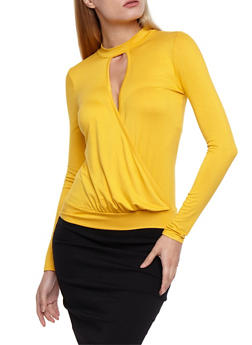 Long Sleeve Surplus Top with Choker Neck - 3034038342123