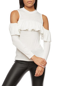 Long Sleeve Ruffled Cold Shoulder Top - 3034038342131