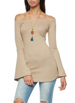 Off the Shoulder Bell Sleeve Top with Necklace - 3034038342188