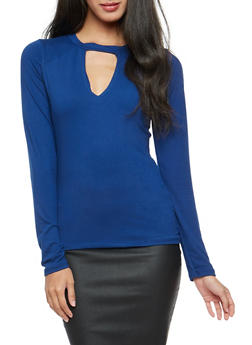Solid Long Sleeve Keyhole Top - 3034038342312