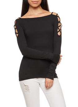 Caged Shoulder Long Sleeve Top - 3034038342313