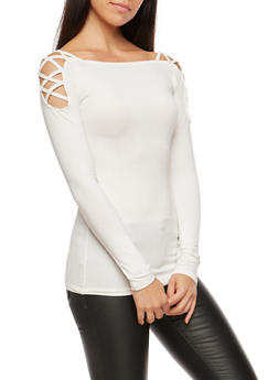 Caged Shoulder Long Sleeve Top - IVORY - 3034038342313
