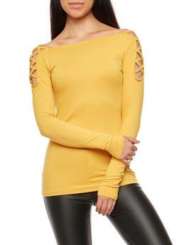 Caged Shoulder Long Sleeve Top - 3034038342313