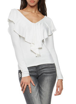 Lace Up Back Long Sleeve Top - IVORY - 3034038342318