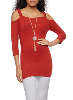 Soft Knit Off the Shoulder Top with Necklace - 3034038342319