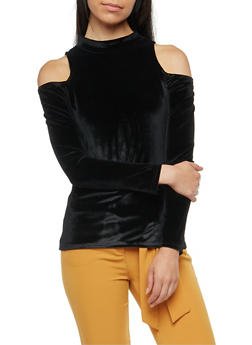 Velvet Cold Shoulder Top - BLACK - 3034038342452