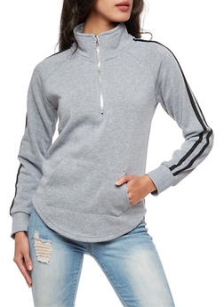 Half Zip Athletic Striped Sweatshirt - 3034038342552