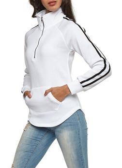 Half Zip Athletic Striped Sweatshirt - WHITE - 3034038342552