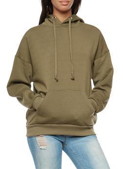 Solid Fleece Lined Hooded Sweatshirt - 3034051066306