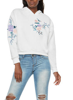 Floral Embroidered Cropped Hoodie - IVORY - 3034051066307