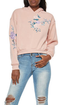 Floral Embroidered Cropped Hoodie - BLUSH - 3034051066307