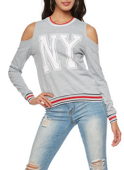 Long Sleeve Cold Shoulder NY Graphic Top - 3034051066349