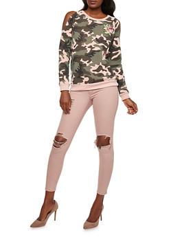 Rose Patch Camo Cold Shoulder Sweatshirt - MAUVE - 3034051066350